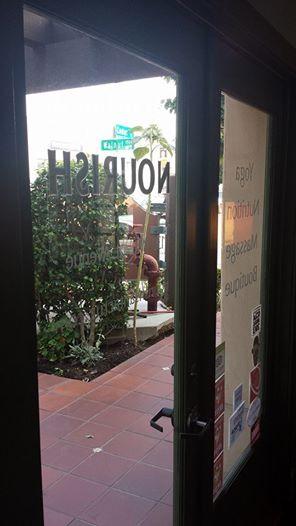 Walnut & Cedar Sign through NOURISH Door